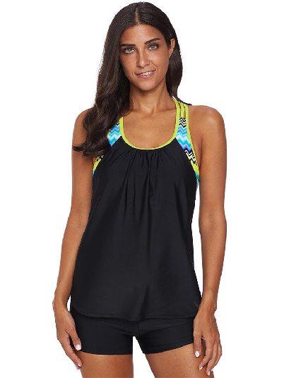 Black Swimsuit Print Split Round Neck Flat-angle Tankini Set
