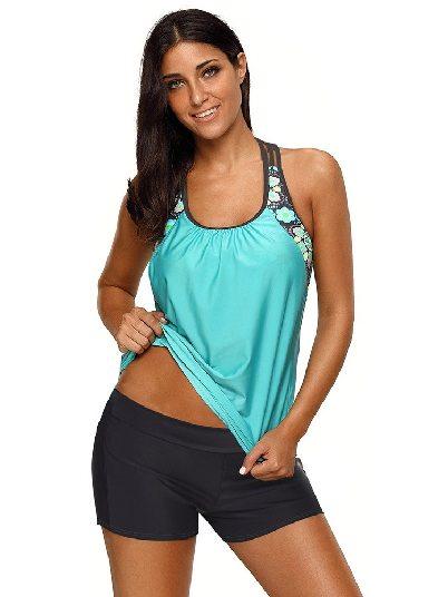 Light Green Swimsuit Print Split Round Neck Flat-angle Tankini Set