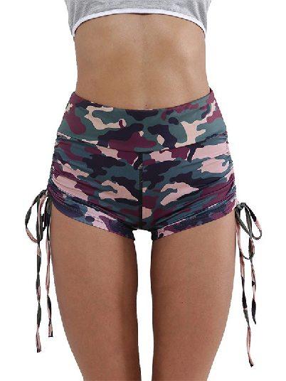 Green Drawstring Shorts Camo Print High Waist Side Ruched Fitness Yoga Shorts