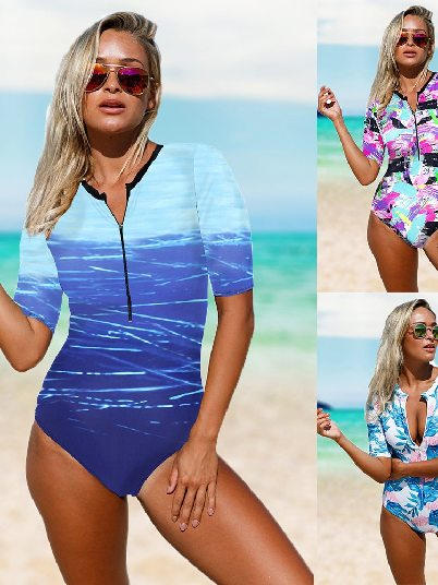 Print Zip Front Half Sleeve High Waist One Piece Swimsuit