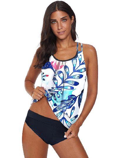 White Split Swimsuit Print Criss Cross Hollow-out Tankini Swimwear