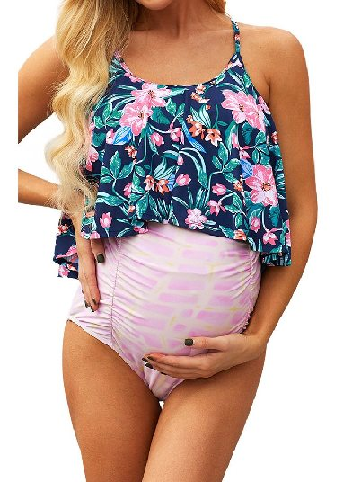 Floral Split Triangle Two-Piece Set Ruched Maternity Swimsuit