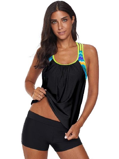 Vest-style Fake Two-piece Striped Printed Strappy T-Back Push up One-piece Tankini Top