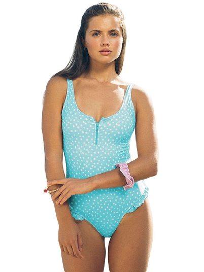 Sky Blue Women One-piece Dotted Print Chest Zipper Pleated Monokini Swimsuit