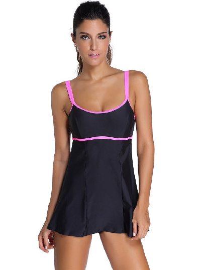 Black Bikini Double Shoulder Strap One-piece Swimdress