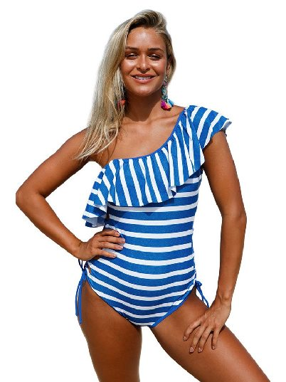 Blue Swimsuit Striped Ruffle Cross Laces on Both Sides One Piece Swimsuit