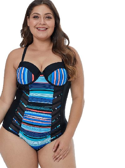 Striped Mesh Stitching Block Patchwork Crisscross Plus Size Maillot