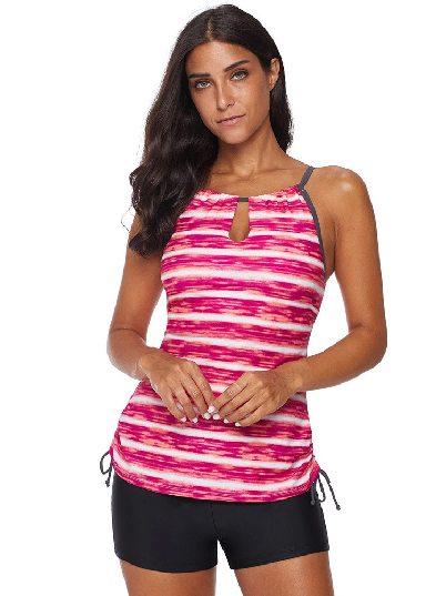 Stripe Print Tankini Split Swimwear