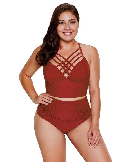 Red American Flag Triangle Split High Waist Plus Size Swimsuit