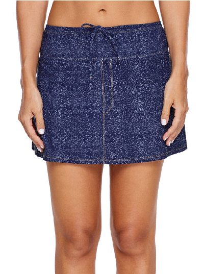 Flat-angle Hakama Denim Swim Skirt