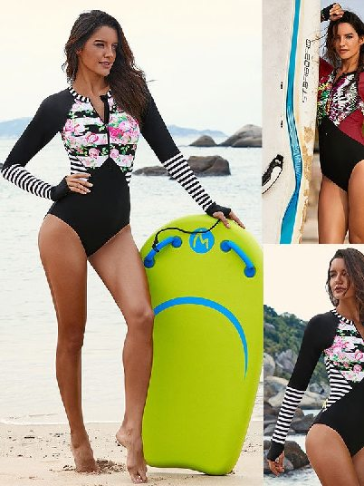 Surfing Floral Striped Patchwork Long Sleeve Rash guard One-piece Triangle Swimsuit