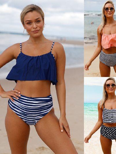 Sling Ruffle Bikini Striped Bottom High Waist Swimwear