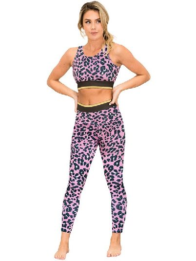Pink Yoga Clothing Leopard Tight-fitting Sports Bra and Legging Set