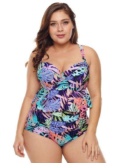 Color High Waist Tropical Print Ruffle Split Bikini Two Piece Triangle Swimwear