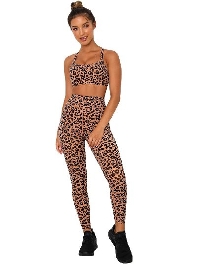 Leopard print Yoga Clothing Leopard Tight-fitting Sports Bra and Legging Set