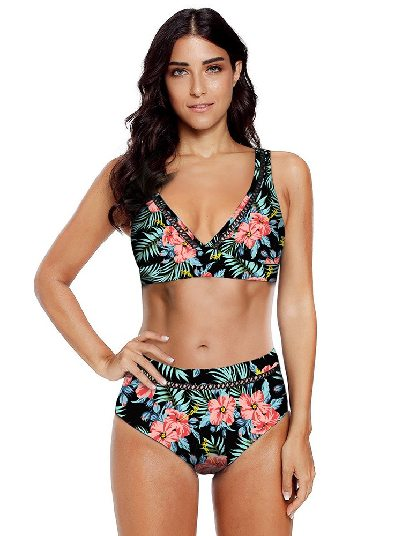 Special Bikini Printed V Neck Hollow Out Mid-waist Beach Swimsuit