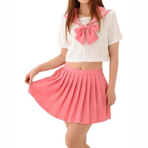 Cheap Pink Short Sleeves School Uniform Cosplay Costume
