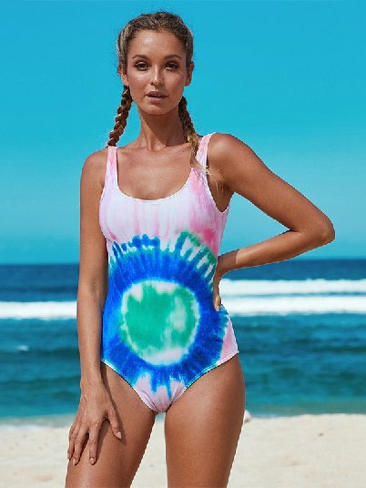 Multicolor Tie Dye Gradient Gathering Open Back One-piece Swimwear