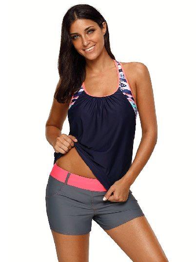 Blue one-piece jacket Split Swimsuit Blouson Style Printed T-back One Piece Tankini Top Swimwear