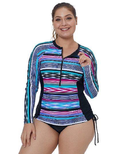 Striped Printed Pattern Single-piece Swimsuit Quick-drying Tankini Rash Guard