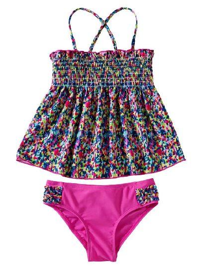 Little Girl Boho Print Cross Strap Triangle Split Two Piece Swimsuit Set