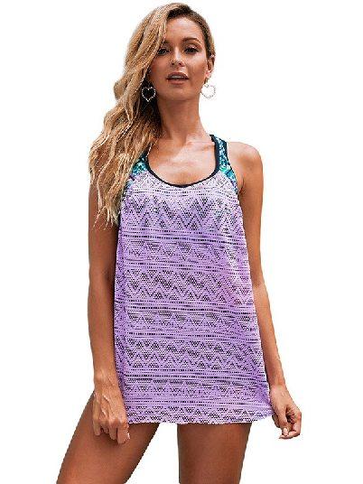 Purple Plus Size Printed Patchwork Split Mesh Vest Tankini Top