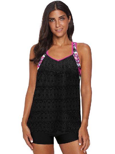 Black Plus Size Printed Patchwork Split Mesh Vest Tankini Top