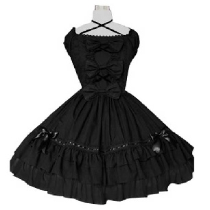 Black Puff Sleeves Classic Lolita Cosplay Dress