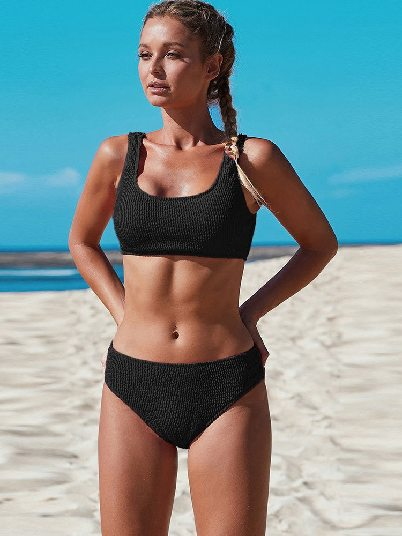 Black Split Swimsuit Scoop Neck Crop Top Mid Rise Bottom Two-piece Triangle Swimsuit