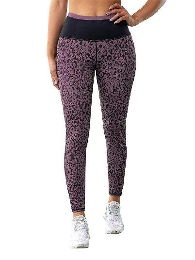 Purple Yoga Pants Leopard Print Active Slim Fit Leggings