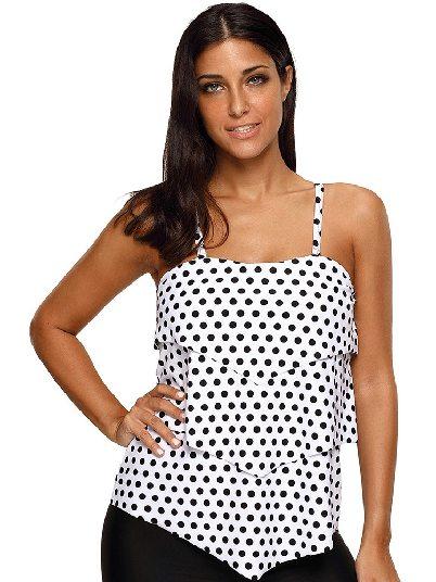 Bikini Polka Dot Ruffle Halter One-piece Tankini Top