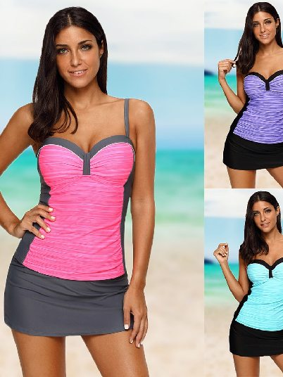 Plus Size Sling Steel Ring Flat-angle Tankini and Skirted Swimsuit