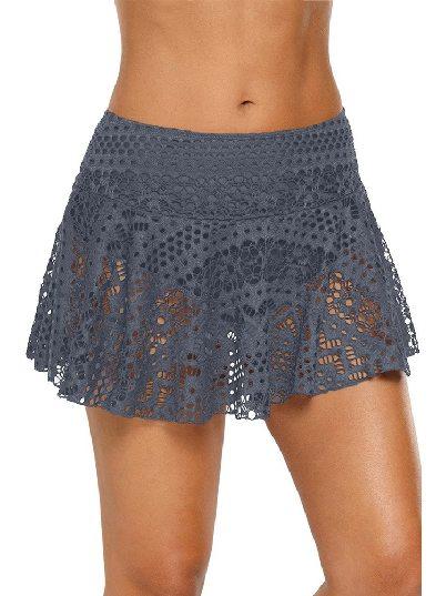 Gray Anti-glare Crochet Lace Skirted High Waist Triangle Trunks Bottom
