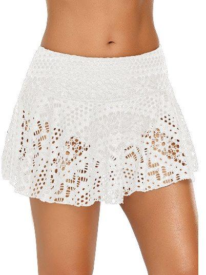 White Anti-glare Crochet Lace Skirted High Waist Triangle Trunks Bottom