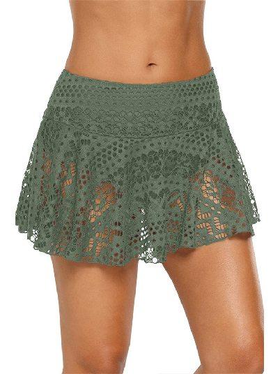 Army Green Anti-glare Crochet Lace Skirted High Waist Triangle Trunks Bottom
