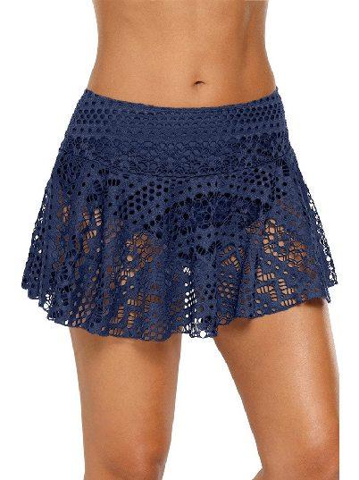 Blue Anti-glare Crochet Lace Skirted High Waist Triangle Trunks Bottom
