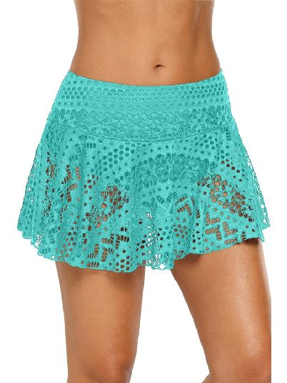 Green Anti-glare Crochet Lace Skirted High Waist Triangle Trunks Bottom