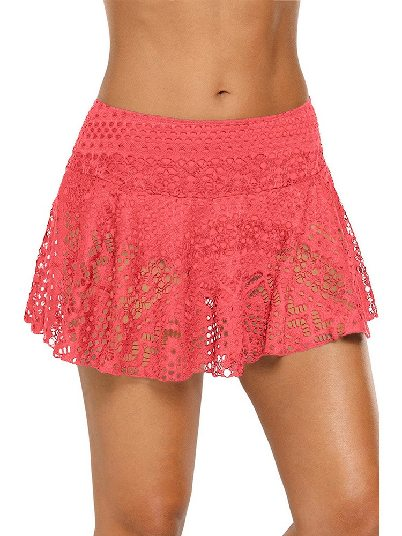 Orange Anti-glare Crochet Lace Skirted High Waist Triangle Trunks Bottom