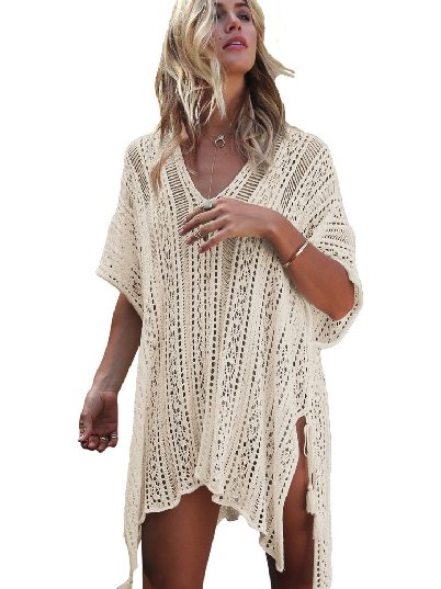 Apricot Knitted Sexy V-neck Crochet Knitted Side-tied Kimono Beachwear