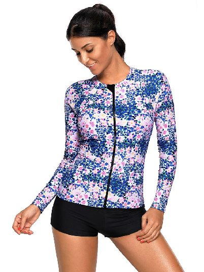 Blue Swimsuit Long Sleeve Flower Zipped Rashguard Top