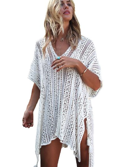 White Knitted Sexy V-neck Crochet Knitted Side-tied Kimono Beachwear