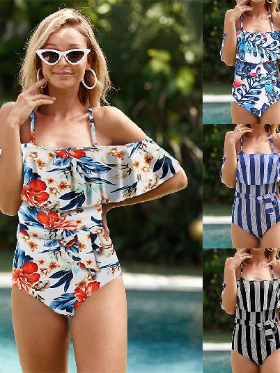 Print Sexy Sling Straps Striped Ruffled Cold Shoulder One-piece Swimsuit