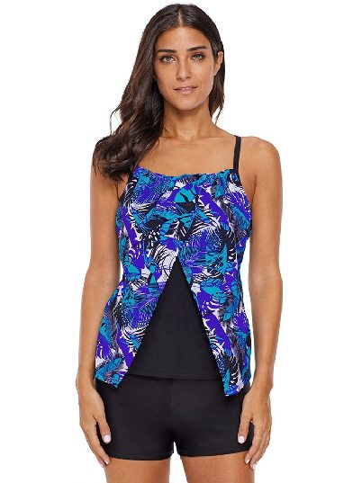 Sling Layered Chic Strappy Back Flyaway Tankini Top