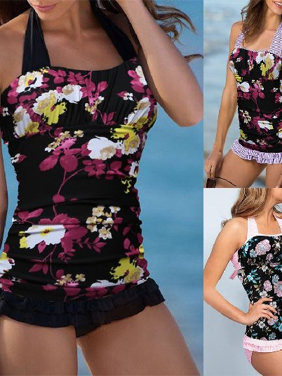Printing Stitching Sexy Open Back Ruched Halter Top Shorts Tankini Set