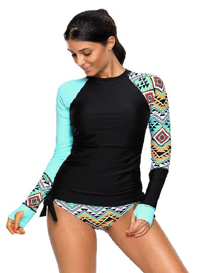 Blue Women Long Sleeve Long Sleeve Tankini Split Swimsuit