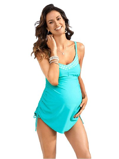 Light Blue Fashion Suspenders Tank Top Pregnant Swimsuit with Panty