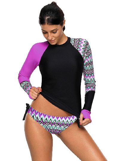 Purple Women Long Sleeve Long Sleeve Tankini Split Swimsuit
