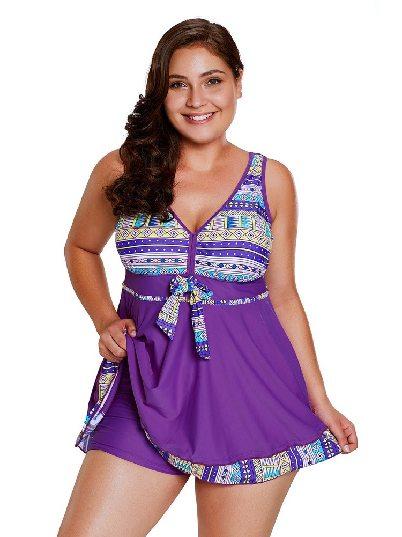 Plus Size Swimsuit Tribal Print Accent Swimdress and Short Set