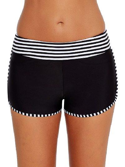 Wide Waistband Striped Trim Flat-angle Swim Board Shorts