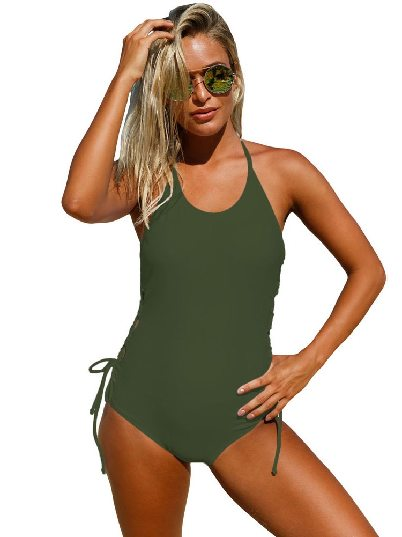 Army Green Print Suspenders Neck Lace up Sides One-piece Maillot